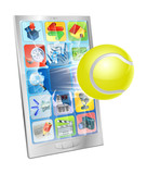 Tennis ball flying out of cell phone