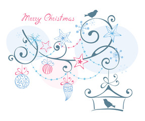 Christmas background -- birds on branch