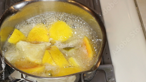 Citrus Fruit Aromatherapy Simmering on a Stove