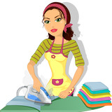 Brunette girl ironing