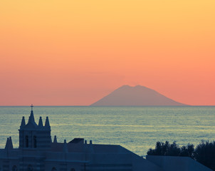 Amazing sunset over Stromboli