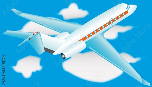 Airplane in a sky with clouds, eps10