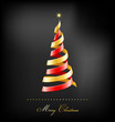 Elegant golden Christmas background with tree and lights