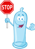 Condom Cartoon Mascot Character Holding A Stop Sign