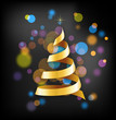 Elegant golden Christmas  with tree and lights