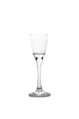 Empty glass for premium liqueur, isolated on white background