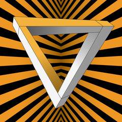 An impossible object (Penrose triangle).