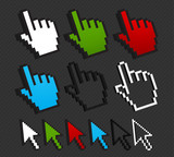 colorful cursor set internet concept
