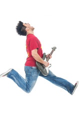 man jumping while playing guitar