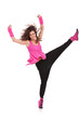 dancer holding her leg high