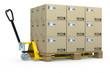 Handhubwagen mit Palette voller Kartons