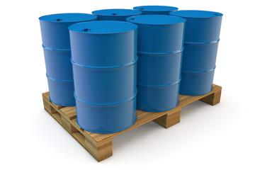 Sechs Ölfässer auf Palette