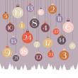 Advent Calendar Hanging Christmas Balls Retro Colors