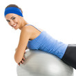 Woman with fitness ball, isolated
