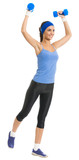 Cheerful woman exercising with dumbbells, over white