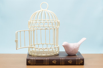 本の上の小鳥と鳥篭