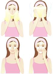 スキンケアする女性(タオルで拭く・蒸しタオル・コットンパック2種類)