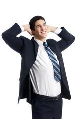 Thinking businessman, on white