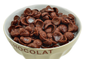 Bowl of chocolate flakes, cereals