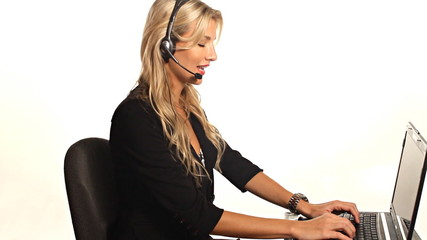 Pretty blond business woman working customer service