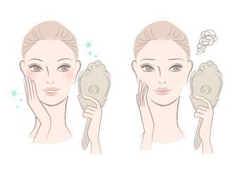 鏡を見る女性 ビフォアーアフター ビューティー 美容 イラスト