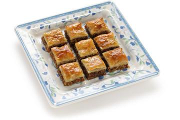 homemade baklava, turkish dessert