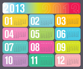 Modern 2013 Yearly Calendar in vector format
