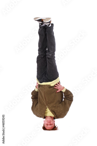 b-boy freeze on head isolated on white background