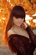 Autumn Woman Fashion Portrait. Sunset. Beautiful Girl.