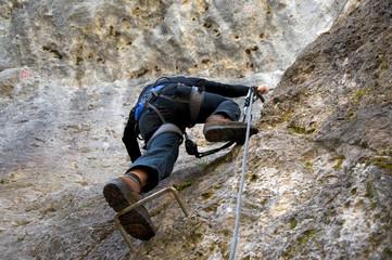 Bergsteiger in den Dolomiten - Alpen