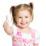 Fototapety happy child girl with hands thumbs up