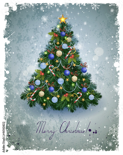 vintage greeting-card with Christmas fir-tree