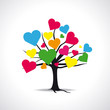 Arbre cœurs multicolores