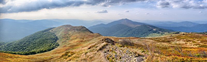 Panorama on Carpathians mountains