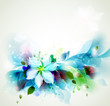 Abstract blue artistic Backgrounds with floral