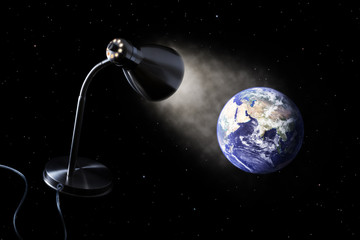 Desk lamp illuminates the Earth