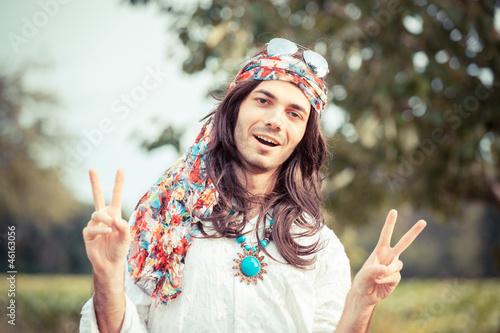 Hippie Portrait showing Peace Sign - 46163056