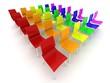 Stuhlreihen farbig 3d