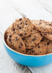 Bowl with chocolate cookies