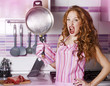 sexy girl prepares dinner
