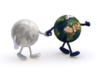 moon walk with earth