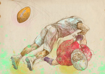 American football theme. Full-sized hand drawing