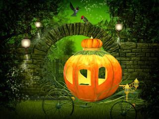 magical  night, pumpkin carriage