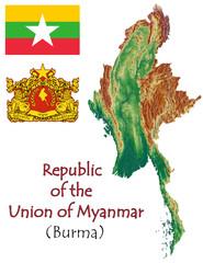 Burma Myanmar national emblem map symbol motto