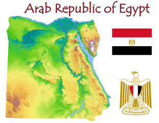 Egypt national emblem map symbol motto