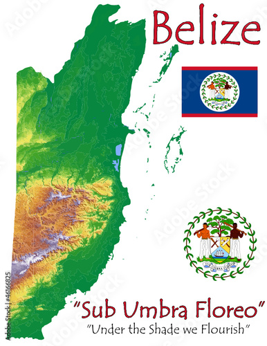 Belize national emblem map symbol motto