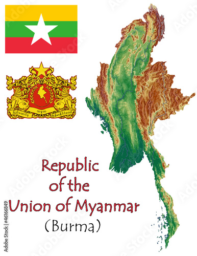 Burma Myanmar national emblem map symbol motto