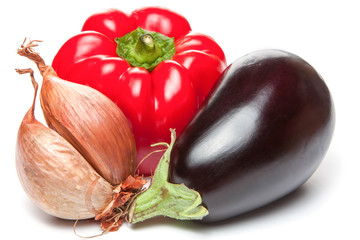 Onion, bellpepper and brinjal