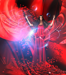 goddess of love in red dress with magnificent hair connecting he