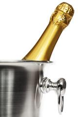 eine flasche champagner in einem sekt kühler